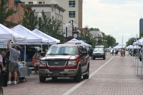 Early afternoon setup scenes of the monthly Alive After Five downtown Sanford, Florida, festival held the second Thursday of each month.